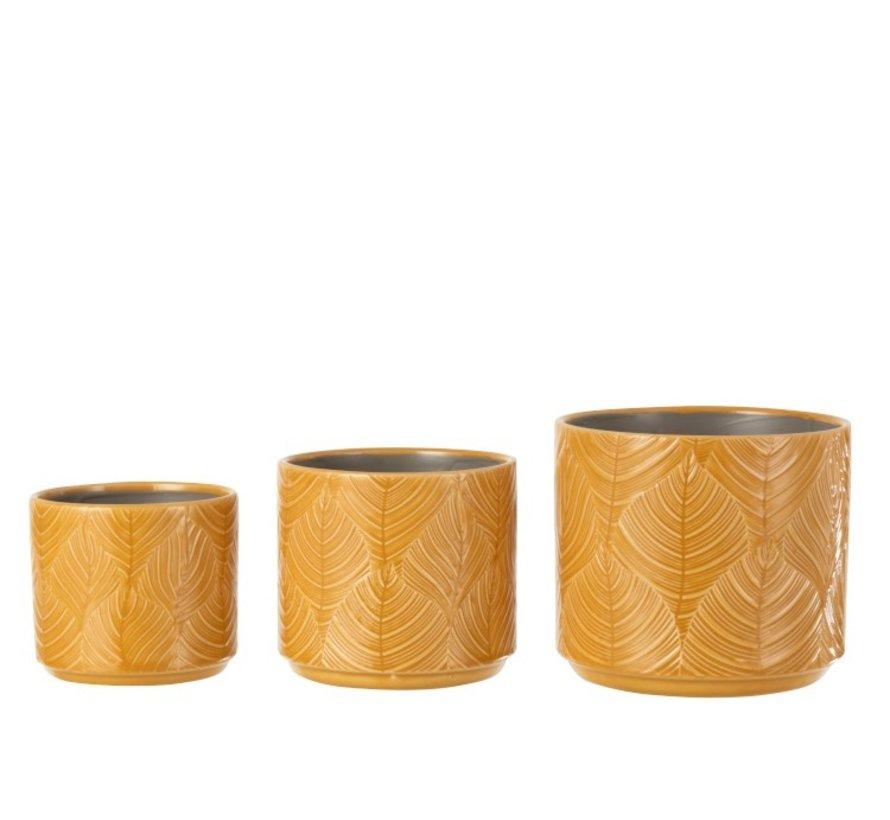 Flowerpot Ceramic Leaves Ocher - Medium