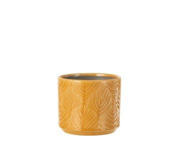 J-Line Flowerpot Ceramic Leaves Ocher - Small