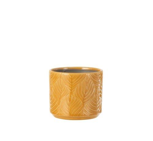 J -Line Flowerpot Ceramic Leaves Ocher - Small