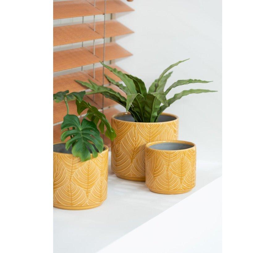 Flowerpot Ceramic Leaves Ocher - Small