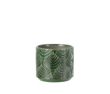 J-Line Flowerpot ceramic Leaves Green - Small