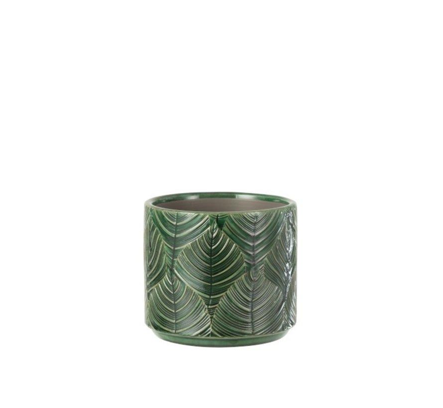Flowerpot ceramic Leaves Green - Small