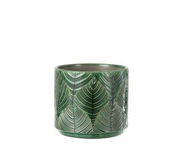 J-Line Flowerpot Ceramic LeavesGreen - Medium