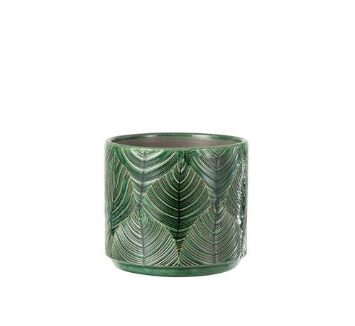J-Line Bloempot Keramiek Bladeren Groen - Medium