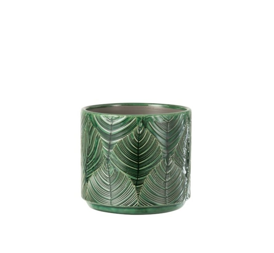 Flowerpot Ceramic Leaves Green - Medium
