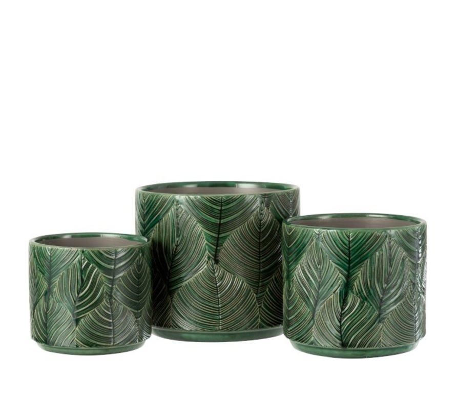 Bloempot Keramiek Bladeren Groen - Medium