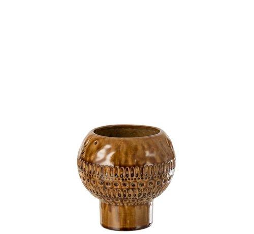 J -Line Vase Ceramic Vintage Round Ocher Brown - Small