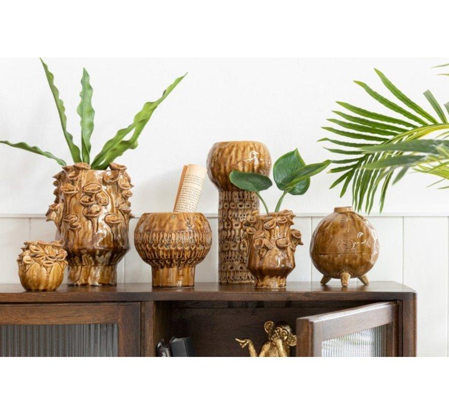 Vase Ceramic Vintage Round Ocher Brown - Small