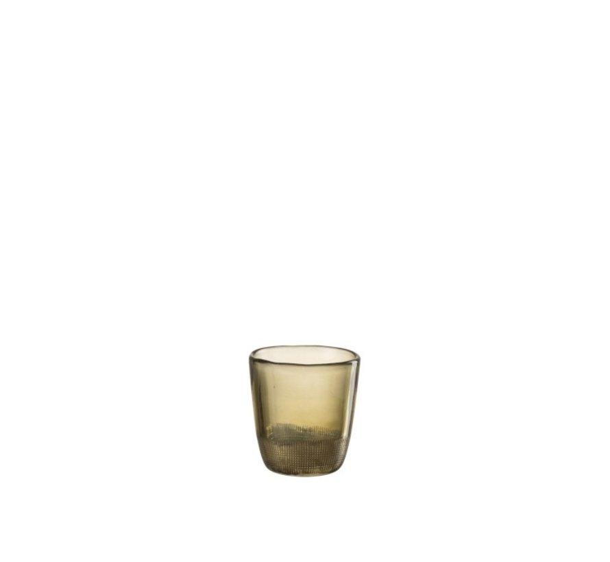 Theelichthouder Glas Transparant Groen - Small