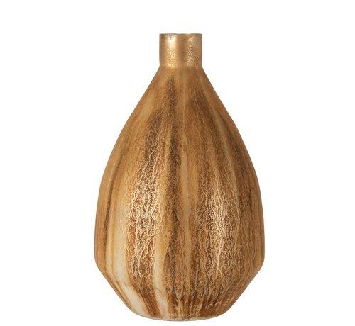 J -Line Bottles Vase Glass Grains Antique Brown - Large