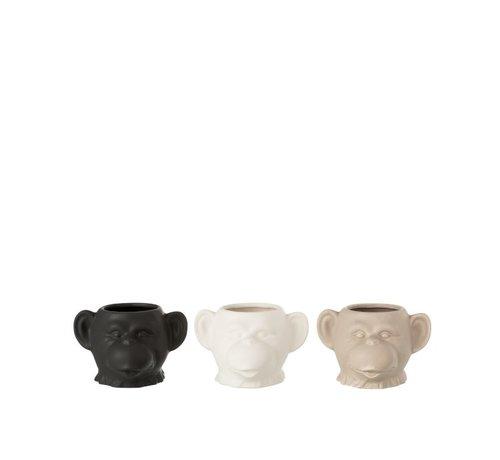 J -Line Bloempot Drie Apen Keramiek Wit Beige Zwart - Small