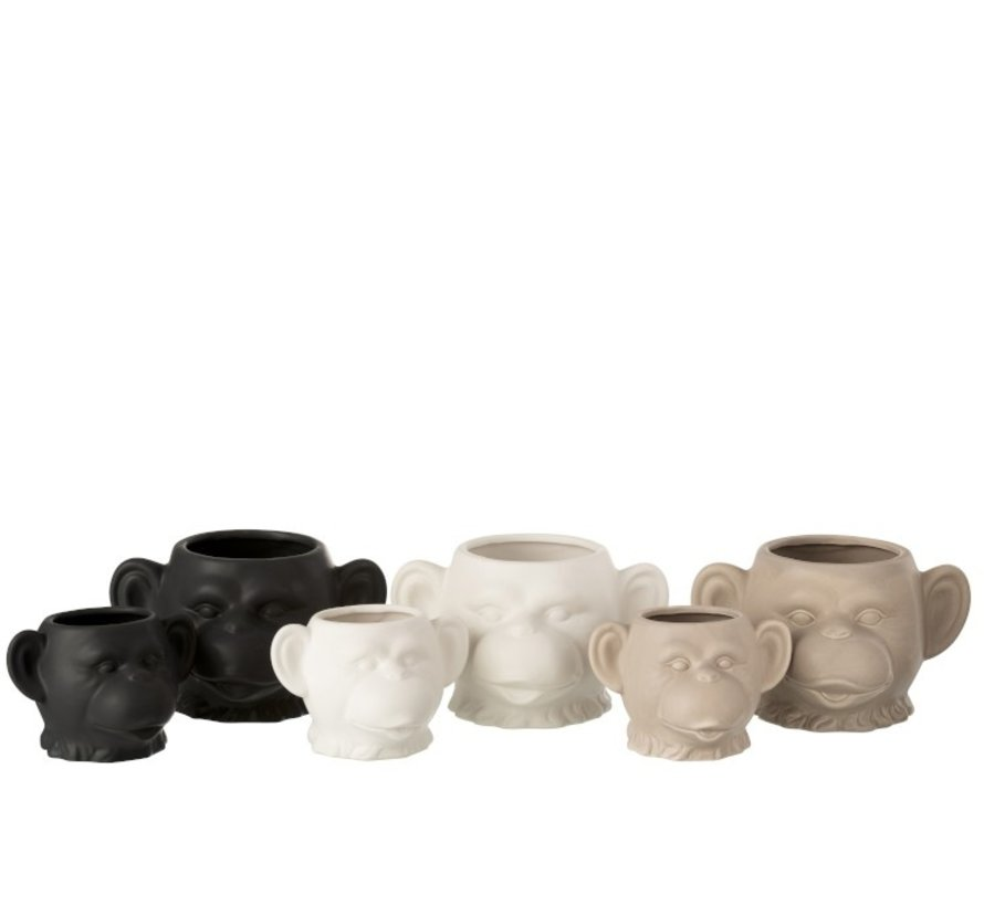 Flowerpot Three Monkeys Ceramic White Beige Black - Small