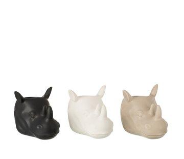 J -Line Flowerpot Three Rhinos White Beige Black - Large
