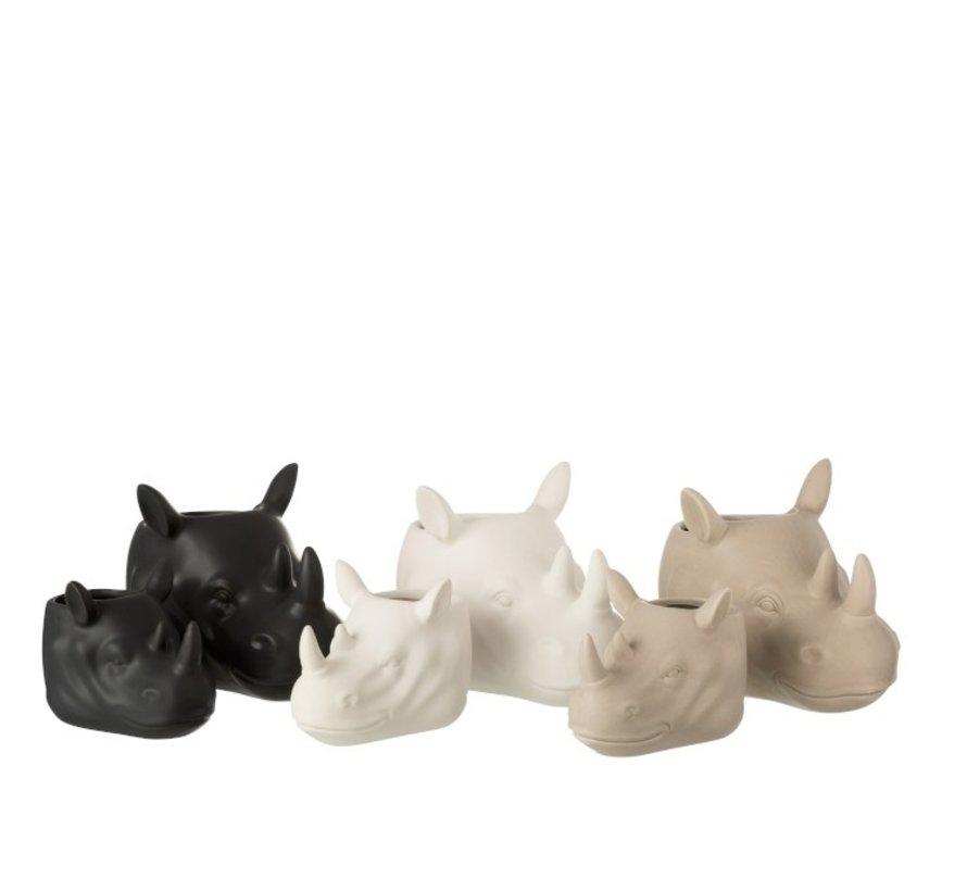 Bloempot Drie Neushoorns Wit Beige Zwart - Large
