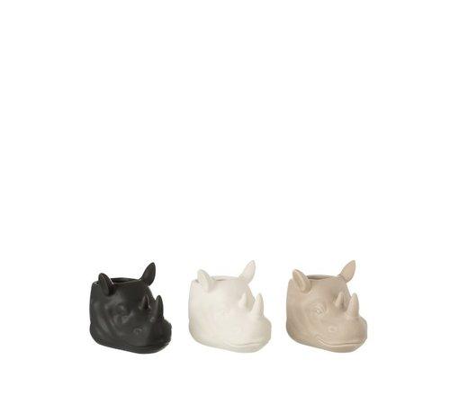 J -Line Flowerpot Three Rhinos White Beige Black - Small