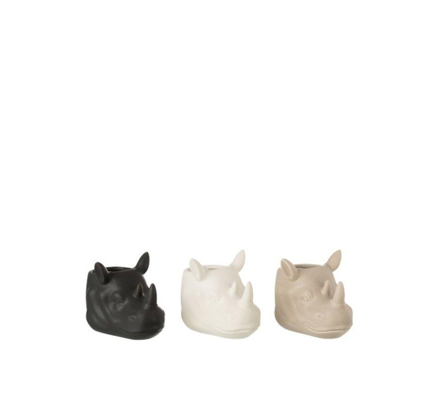 Bloempot Drie Neushoorns Wit Beige Zwart - Small