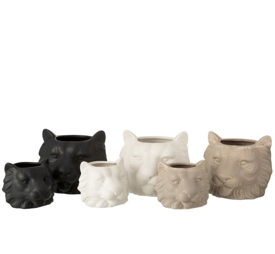 Bloempot Drie Leeuwen Wit Beige Zwart - Small
