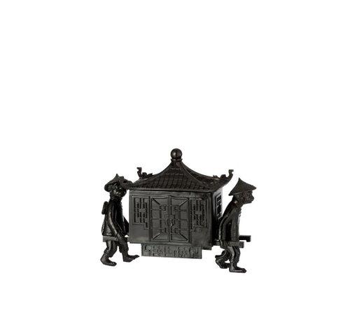 J-Line Decoratie juwelenkist Apen Met Oosterse Tempel - Zwart