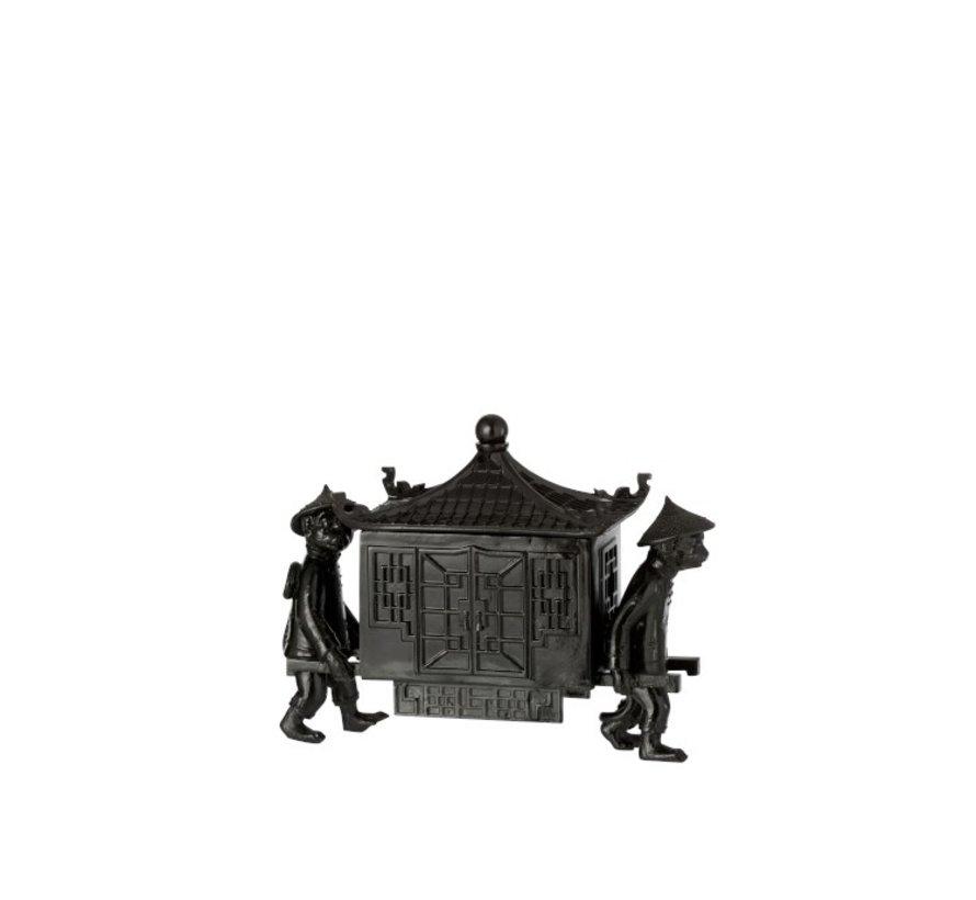 Decoration jewelery box Monkeys With Oriental Temple - Black