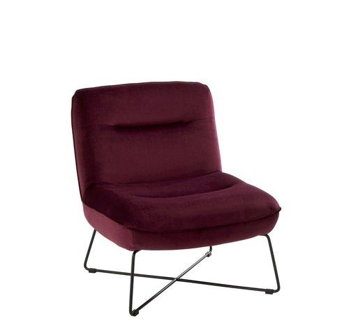 J -Line Relaxing Chair Crossed Frame Metal - Burgundy