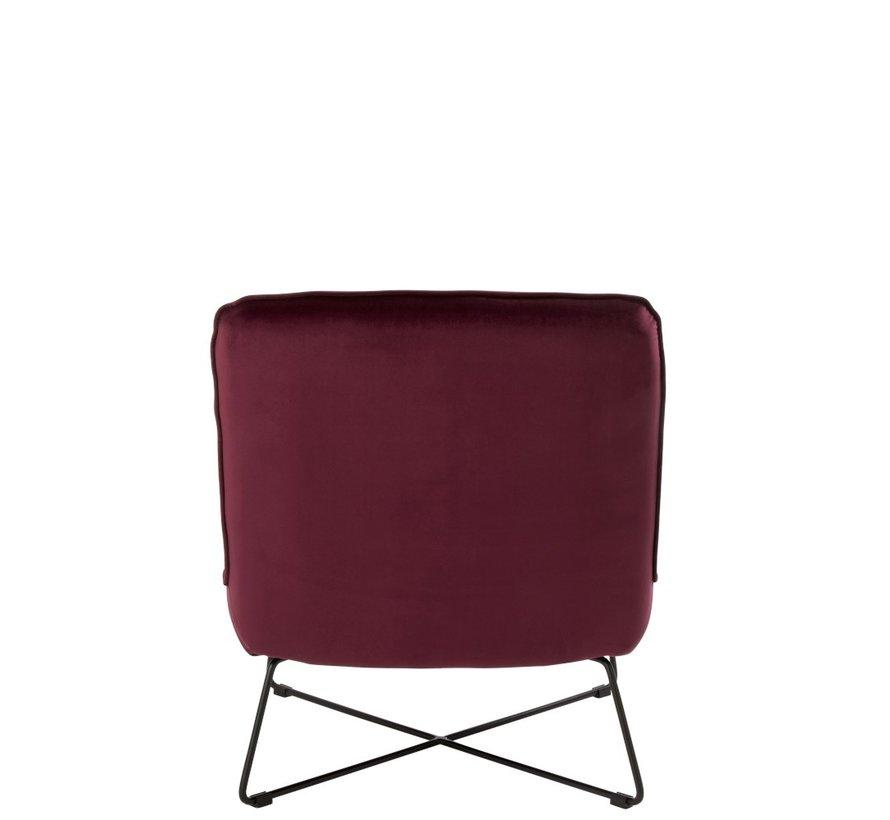 Relaxing Chair Crossed Frame Metal - Burgundy