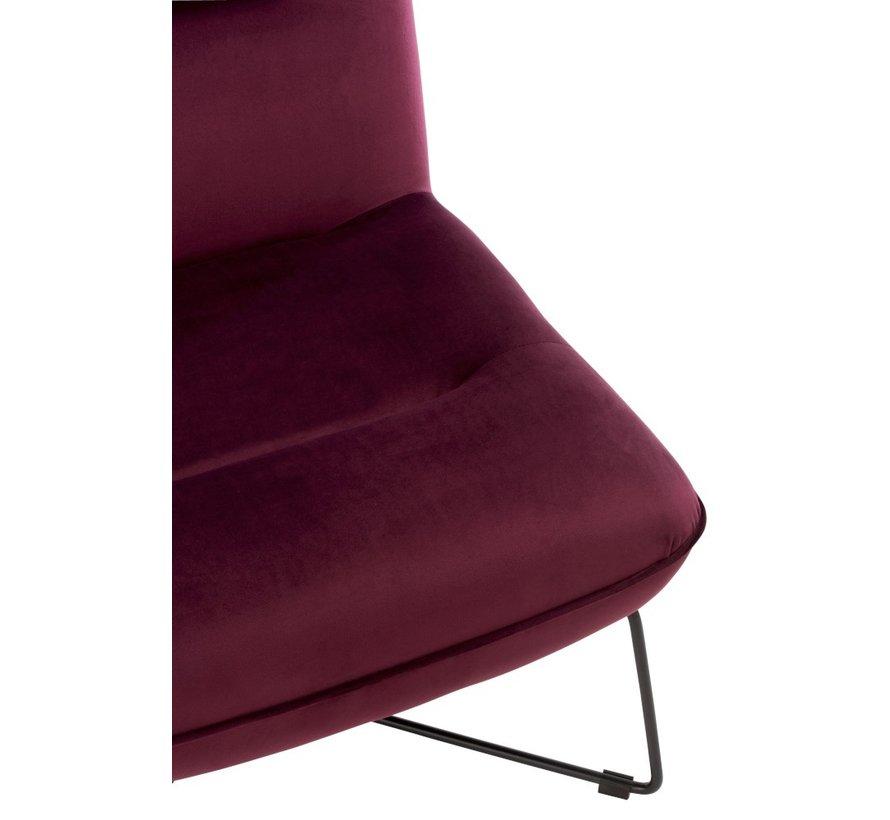 Relaxstoel Gekruiste Frame Metaal - Burgundy