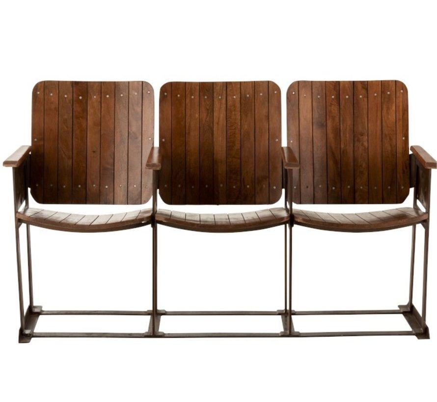 Vintage Sofa Three Seater Mango Wood - Brown
