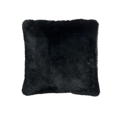 J -Line Kussen Vierkant Pluche Extra Zacht - Zwart