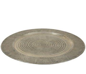 J-Line Decorative Tray Round Aluminum Gray - Extra Large