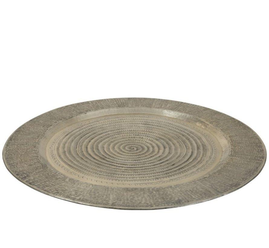 Decoratief Dienblad Rond Aluminum Grijs - Extra Large