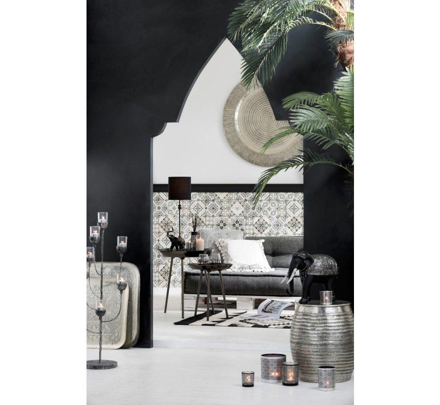 Decorative Tray Round Aluminum Gray - Extra Large