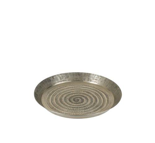 J-Line  Decorative Tray Oriental Aluminum Gray - Small