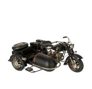 J -Line Decoration Retro Motorcycle Sidecar Metal - Black