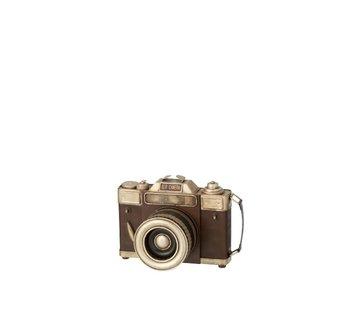 J -Line Decoratie Antiek Camera Metaal Bruin - Zilver