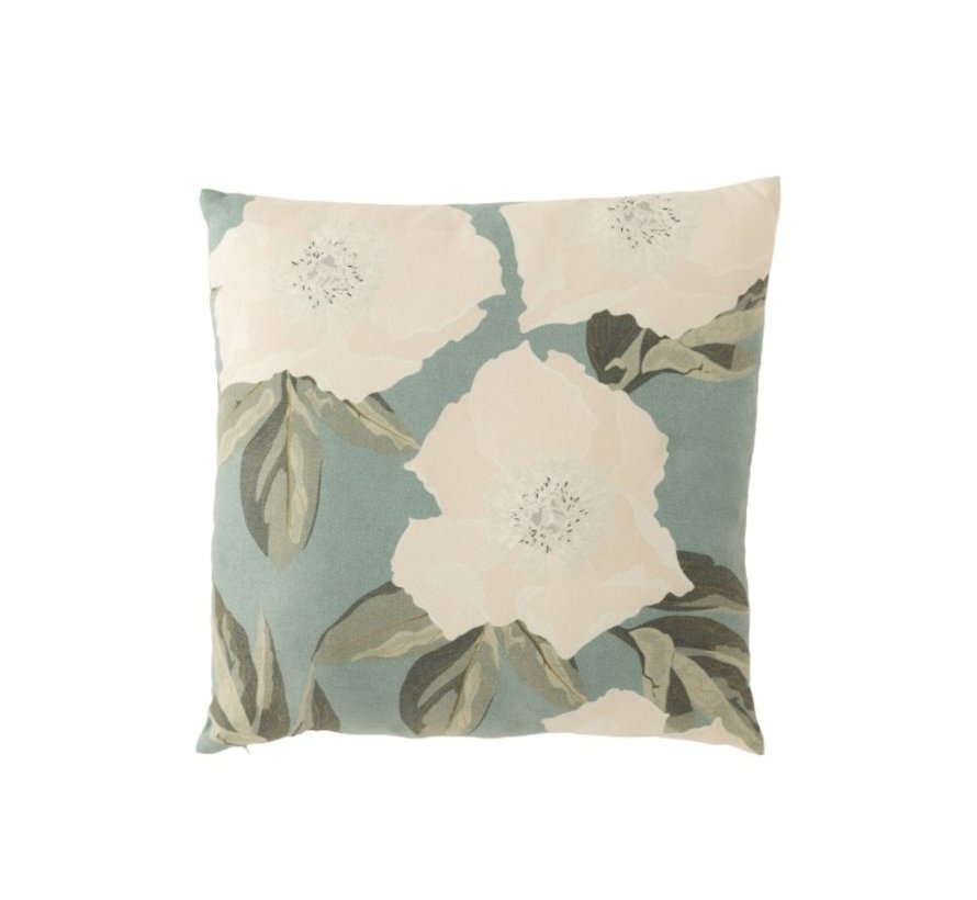 Cushion Square Summery Flowers Green - White