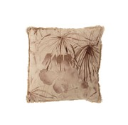 J -Line Cushion Square Summery Flowers Fringes Beige - Brown