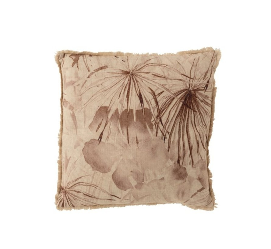 Cushion Square Summery Flowers Fringes Beige - Brown