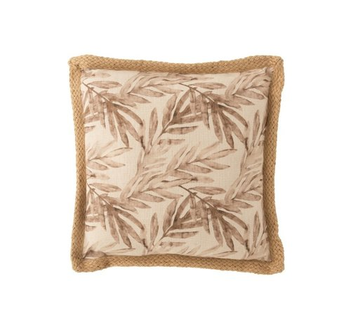 J -Line Cushion Square Summery Leaves Beige - Brown