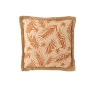 J -Line Cushion Square Palm Leaves Beige - Ocher