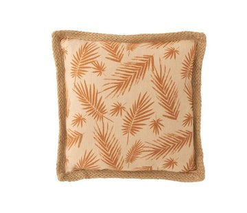 J -Line Kussen Vierkant Palmbladeren Beige - Oker