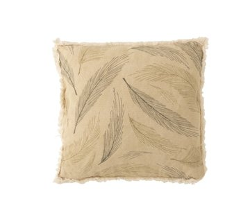 J -Line Cushion Square Leaves Fringes Beige - Green