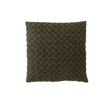 J -Line Cushion Square Woven Polyester - Dark Green