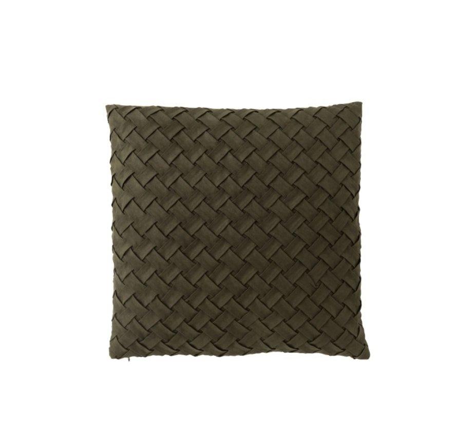 Kussen Vierkant Geweven Polyester - Donkergroen