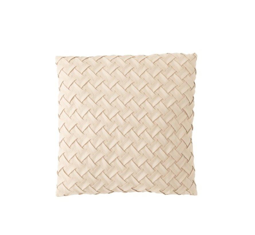 Kussen Vierkant Geweven Polyester - Beige