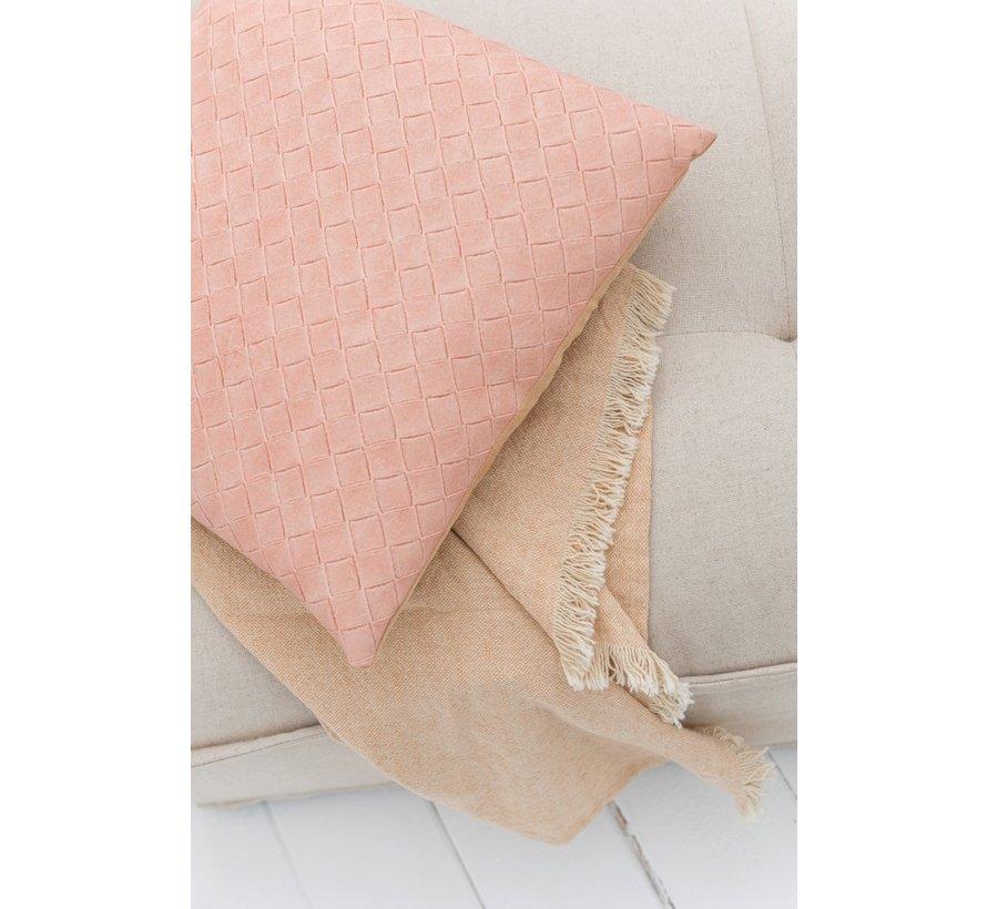 Kussen Vierkant Geweven Polyester - Zalm