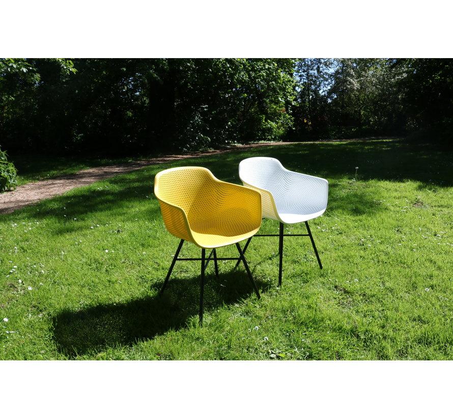 Garden Chair Yellow Coated Metal Black Frame