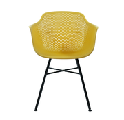 Kick Garden Chair Yellow Coated Metal Black Frame