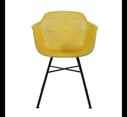 Kick Garden Chair Yellow Coated Metal Black Frame