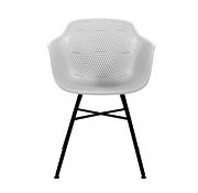 Kick Garden Chair White Coated Metal Black Frame
