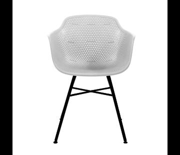 Kick Garden Chair White Coated Metal Black Frame